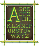 bamboo frame with canvas and stylized alphabet