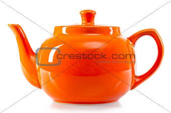 bright orange teapot on a white background
