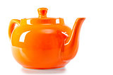 teapot orange on a white background