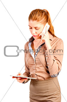 beautiful successful woman with tablet computer and telephone