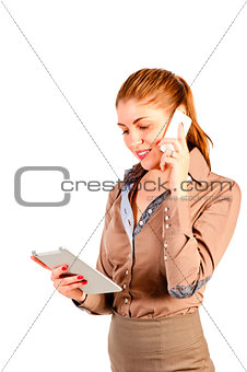 successful young woman with modern device