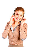 Call center operator beautiful girl
