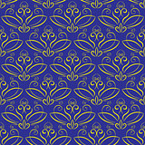 seamless background with ornament. Yellow on blue