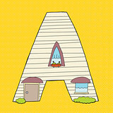 Letter A Over Yellow