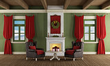 Classic room with christmas decoration