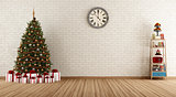Vintage room with christmas tree