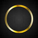 Bright golden ring on perforated texture