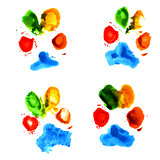 Watercolor animal paw prints
