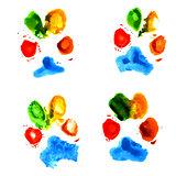 Watercolor animal paw prints