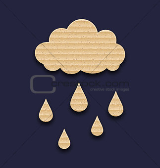 Carton paper cloud with rain drops