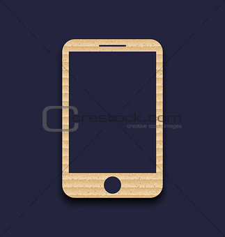 Abstract carton paper mobile phone with shadow, isolated on dark
