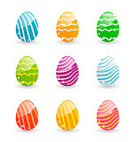 Easter set colorful ornamental eggs isolated on white background