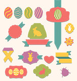Easter scrapbook set - labels, ribbons and other elements (1)