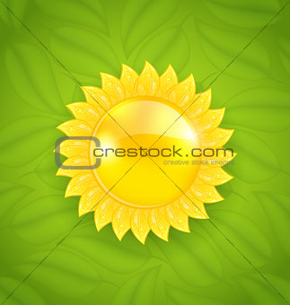 Abstract sun on green leaves texture, eco friendly background