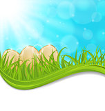 April background with Easter colorful eggs