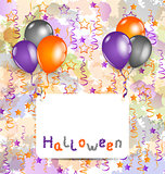 Halloween card with set colorful balloons and tinsel