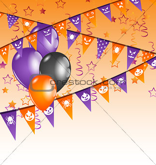 Hanging flags and balloons for Halloween party