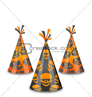 Halloween party hats isolated on white background