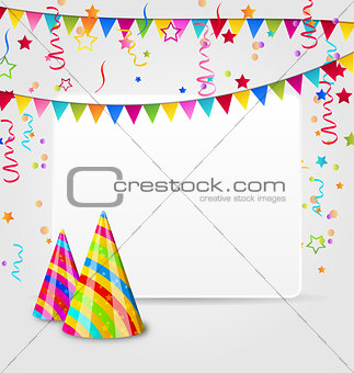 Celebration card with party hats, confetti and hanging flags