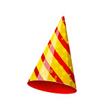 Party striped hat isolated on white background