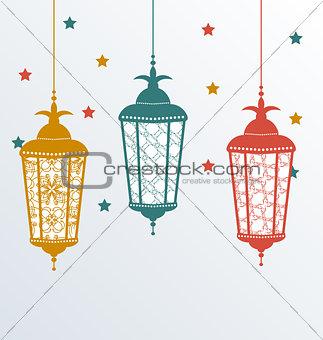 Intricate Arabic lamps for Ramadan Kareem