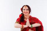 european girl in red indian saree