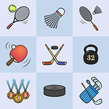 Collection of colored sport icons.