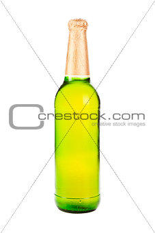 Green beer bottle isolated on white.