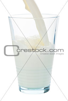 Pouring milk.