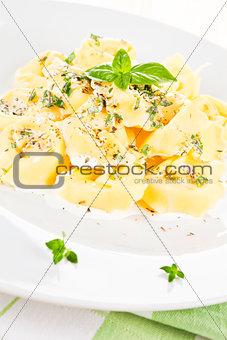 Tortellini with cream sauce.