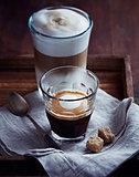 Glass of Espresso Macchiato and Latte Macchiato