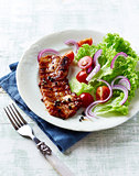 Grilled Bacon with Peppercorns and Salad