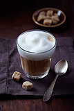 Glass of Latte Coffee with Thick Milk Foam