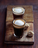 Two Small Glasses of Espresso Macchiato
