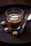 Glass of Espresso Macchiato with Brown Sugar