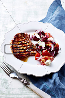 Grilled Pork with Kidney Bean Salad
