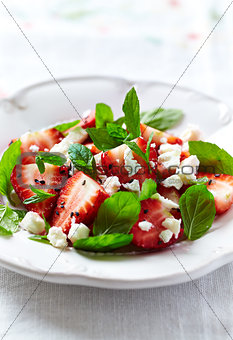 Strawberry Salad with Goat Cheese, Fresh Mint and Black Sesame