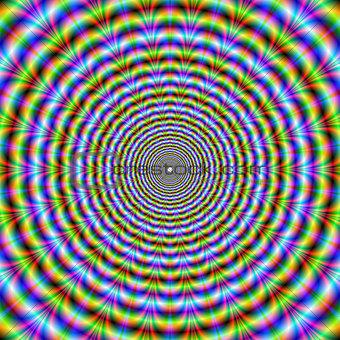 Circular Psychedelic Neon Ripples