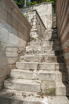 Closeup detail of old stone steps