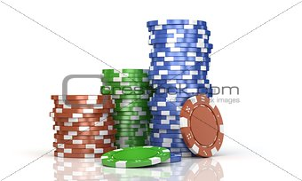 stacks colorful poker chips