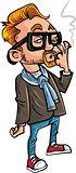 Cartoon hipster smoking a cigarette.