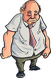 Cartoon overweight man looking very sad