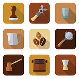 coffee barista instruments icons set