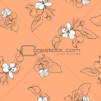 Beautiful seamless pattern with apple blossoms and leaves.