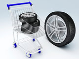 Shopping cart with wheels