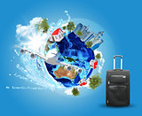 Earth with buildings, airplane and voyage bag
