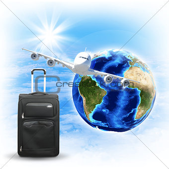 Earth with airplane and voyage bag