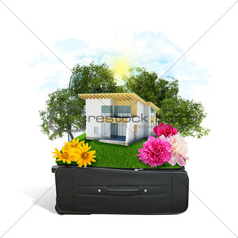 House, trees and green grass in travel bag