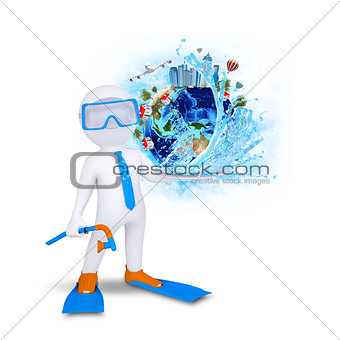 3d diver hold Earth with buildings and trees