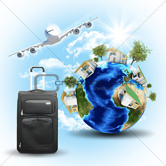 Earth with houses, airplane and voyage bag